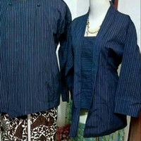 Couple Baju Surjan+Kebaya Lurik Biru/Baju Adat Jawa Jogja Solo/Surjan