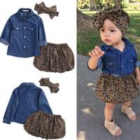 3PCS Baby 0-5Y Gadis denim shirt Leopard Dress Headband Pakaian