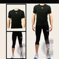 PAKET 2 IN 1 PROMO! Baselayer baju olahraga dan celana baselayer 3/4