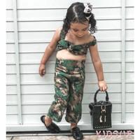 Set 2Pcs Kaos T-Shirt Anak Perempuan Motif Camo Celana Panjang untuk