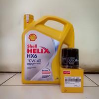 Paket Oli Shell Helix HX6 10W-40 + Filter Oli Avanza/ Xenia/ Rush