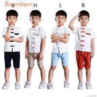 Setelan Kaos T-Shirt Lengan Pendek Celana Gaya Cina untuk Laki-Laki