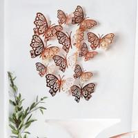 Butterfly 12pcs Stiker Kupu-Kupu 3d Untuk Dekorasi Pesta Ulang Tahun