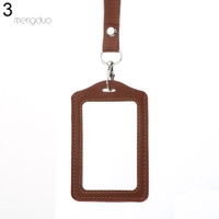 MD☆Fashionable ID Badge Card Holder Faux Leather Frame Clear Case