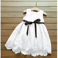 Baju Dress Gaun Pesta Anak Perempuan LISKIDS WHITE 2-4 Tahun