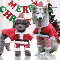 Ga_ Baju Gambar Sinterklas Hangat Untuk Anjing/Kucing