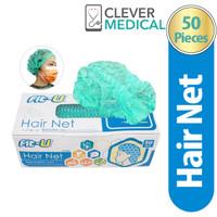 FIT-U HAIR NET DISPOSABLE CAP GREEN ISI 50 PCS / MASKER PENUTUP KEPALA