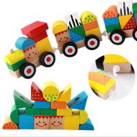 Mainan Balok Bangun / Susun Kayu Bentuk Kereta Tiga Balok Geometri