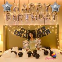 TURUN HARGA Paket set ulang tahun balon dekorasi LED fancy black white