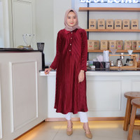 Askalabel - Navy Wiyana murah Tunik plisket Melia Maroon Long Tunik Sa