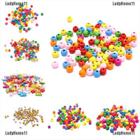 100x Multicolor Spacer Wood Beads Round Wooden Beads for Baby Jewe