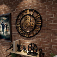 Jam Dinding Desain Gear Industrial Gaya Retro Mdl Untuk Dekorasi