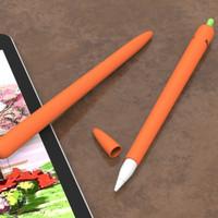 Case Pensil Bahan Silikon Bentuk Wortel Warna Putih Untuk Ipad