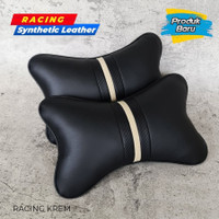 New Bantal Leher Headrest Kulit Model Racing 2pcs Mobil Brio