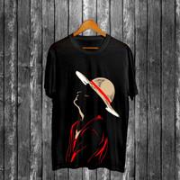 T-shirt Luffy Miring / Baju Kaos Distro Pria Wanita Cotton 30s