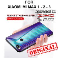 Tempered case Xiaomi Mi Max 1 - 2 - 3 glass cover casing hp tpu carbon - Mi Max 1, Black