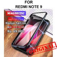 Magnetic case Xiaomi Redmi Note 9 glass cover casing aluminium bumper - Black