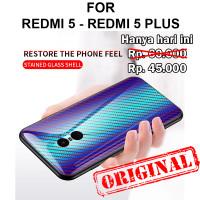 Tempered case Xiaomi Redmi 5 - 5 Plus glass cover casing hp tpu carbon - Redmi 5, Black