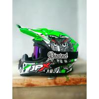 Helm Cross Jpx X13 Green Klx Plus Kacamata Goggle Hitam Pelangi Mura
