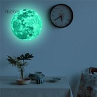 bluelans♘Moon Planet wallpaper dinding Sticker Glow In The Dark
