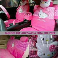 Sarung Jok Mobil AGYA AYLA Full Set Motif HELLO KITTY Pink Diskon
