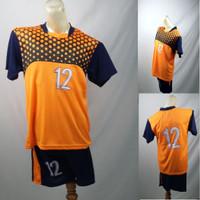 Setelan Baju/Kaos Sepak Bola/Futsal Team/Tim Anak Merah Orange