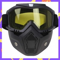 Kacamata Helm Goggles Mask Motor Retro Windproof [Hitam/Kuning]