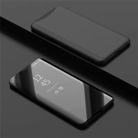 Samsung j6 2018 Flip Clear View Standing Cover Luxury Mirror case - Hitam