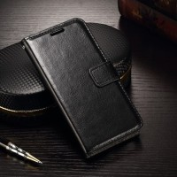 Samsung s6 Flip Wallet Kulit Leather Cover Case - Hitam