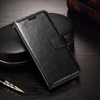 Samsung s6 edge Flip Wallet Kulit Leather Cover Case - Hitam