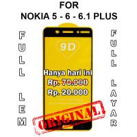 Nokia 5 - 6 - 6.1 Plus anti gores hp full layar kaca TEMPERED GLASS 5D