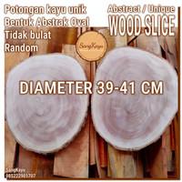 Promo Abstract Wood Slice 39-41cm Potongan kayu unik abstrak talenan