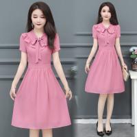 baju wanita impor Dress Ruffle Lengan Pendek Bahan Sifon Warna Pink