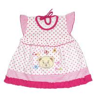 Baju Dress Bayi Perempuan Kaos Katun 3-6 Bulan Motif Cute Bear Head