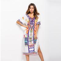 baju wanita impor Bohemian Print Women Beach Dress Summer Casual