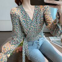 baju wanita impor Korean Style V Neck Floral Print Fashion Casual