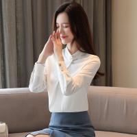 baju wanita impor Blus Sifon Wanita Elegan Lengan Panjang Warna Pink