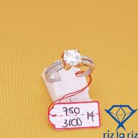 Cincin Model Mata Satu Sisi Bt Var 2 Warna Emas Putih KTYG CC750310014