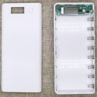 Taffware DIY Power Bank Case 2 USB Port & LCD 8x18650 - C13 White