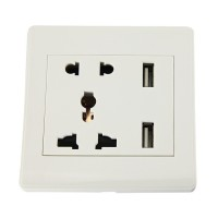 Taffware Stop Kontak Universal UK EU US & 2 USB Port - ATH1 White