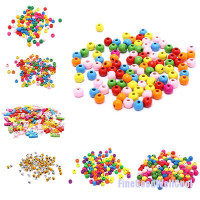 FCL 100x Multicolor Spacer Wood Beads Round Wooden Beads for Baby