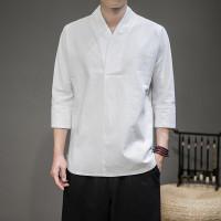 Pria 3/4 lengan linen T-shirt gaya Cina retro longgar katun setengah