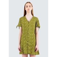 Colorbox Floral V-Neck Short Dress I:Diwkey120E037 Olive