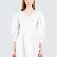 Colorbox Balloon Sleeve Dress I-Diwfcr120E015 Off White - Off White, M