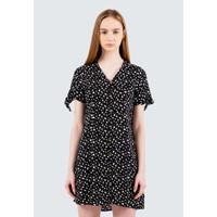 Colorbox Floral V-Neck Short Dress I:Diwkey120E038 Black