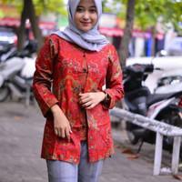 NEW Baju blouse batik atasan wanita - MERAH CHINA HOT