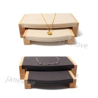 J❥ 2 Pieces /set Wooden bangle Ring display stand with microfiber