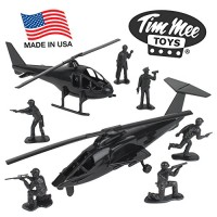 TimMee Black Helicopter Plastic Army Men - 8pc SWAT Chopper Playset: M
