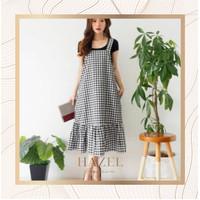Dress Overall Wanita Baju Pesta Kotak-Kotak Murah Impor China Korea