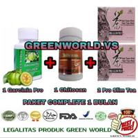 Garcinia pro + Chitosan capsule + Pro slim tea Green world / Paket C